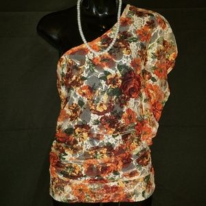 Floral lace womens top